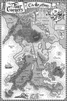 Patrick Rothfuss - Kingkiller Chronicles - Four Corners (of Civilization) map Fantasy World Map, Fantasy City, Fantasy Books, Wind Map, The Kingkiller Chronicles, Patrick Rothfuss, Imaginary Maps, His Dark Materials, Map Design