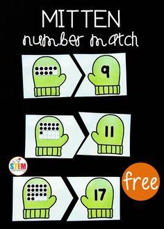 It's a great way to work on ten frames, twenty frames, and number recognition with Pre-K and Kindergarten students! Kindergarten Centers, Kindergarten Learning, Preschool Math, Math Classroom, Teaching Math, Math Centers, Math Activities, Winter Activities, Ten Frame Activities