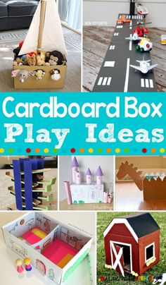 Clever Cardboard Box Boredom Buster Kids Play Activities: Entertain the kids with these cardboard box activities ( List Of Activities, Rainy Day Activities, Preschool Activities, Preschool Centers, Infant Activities, Cardboard Box Crafts, Cardboard Crafts, Cardboard Box Ideas For Kids, Cardboard Castle