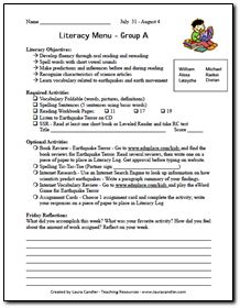 Sample Literacy Menu - Students choose from a selection of required and optional activities.