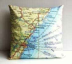 street maps  cushion cover NSW coast Australia by mybeardedpigeon, $55.00