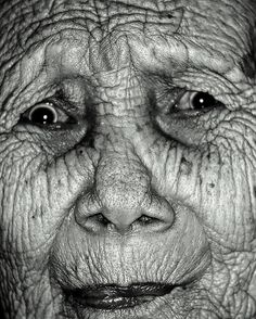beautiful character in her face - old lady's skin