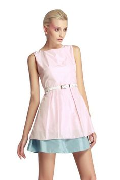Pink Sleeveless Contrast Blue Hem Belt Skater Dress pictures