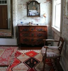 Bohemian, Rustic Living Room Decor with Exposed Brick Wall and Mis-matched Patterned Rugs Style At Home, Exposed Brick Walls, Whitewashed Brick, My New Room, Home Fashion, Home Decor Inspiration, Decor Ideas, Color Inspiration, Home Renovation