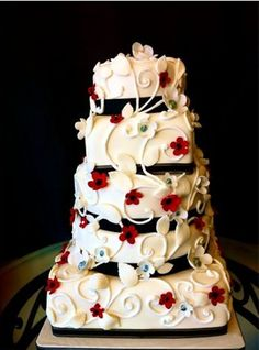 Red, Black, and White Wedding Cake with Something Blue!