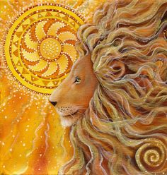 Leo New Moon is an affirmation of life; allow confidence and courage, playfulness and spontaneity to lead the way. Art: Golden Lion by Cathy McClelland Golden Lions, Leo Lion, Lion Of Judah, Lion Art, Animal Totems, Mellow Yellow, Spirit Animal, Cat Art, Les Oeuvres