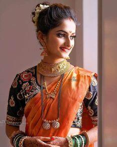 Maharashtrian Saree, Marathi Saree, Marathi Bride, Marathi Wedding, Marathi Nath, Bollywood Saree, Bridal Hairstyle Indian Wedding, Indian Bridal Outfits, Indian Bridal Fashion