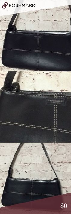 """OPEN TO OFFERS!!! Kate Spade Mini Leather Purse Kate Spade Mini Leather Purse  -Black -Cross stitching pattern -bottom corner has a small paint stain (removable) -interior zip pockets -shoulder bag style -base measures 2"""" OPEN TO OFFERS!!! kate spade Bags Shoulder Bags"""