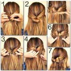 Half updo bow hair style