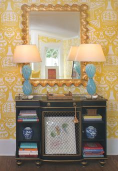 Foyer with The Vase wallpaper by David Hicks for Clarence House.