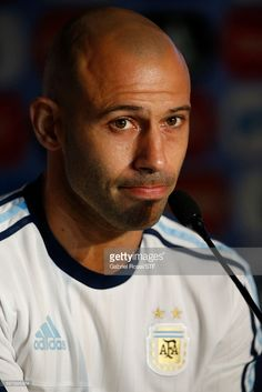 Javier Mascherano of Argentina gestures during a press conference at Argentine Football Association (AFA) 'Julio Humberto Grondona' training camp on August 30, 2016 in Ezeiza, Argentina. Argentina will face Uruguay on September 01, 2016.
