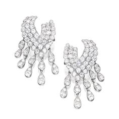 Pair of Rhodium-Plated 18 Karat Gold and Diamond Earclips, Van Cleef & Arpels, France The diamond-set earclips suspending a fringe, set with numerous round diamonds weighing approximately 20.00 carats