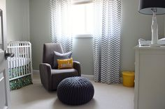 Nursery by justbellablog, via Flickr chevron curtains and yellow accents