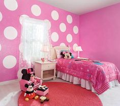 wonder if my husband would care if I painted one wall in the nursery like this... Minnie Mouse Nursery, Minnie Mouse Room Decor, Mickey Mouse, Decoracion Minnie Mouse, Daughters Room, Toddler Rooms, Little Girl Bedrooms, Big Girl Rooms, Girls Bedroom