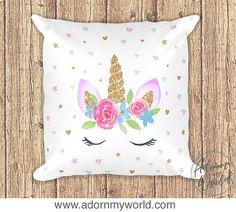 Unicorn Pillow, Unicorn Pillowcase, Unicorn Cushion, Unicorn Nursery Decor, Unicorn Gift, Unicorn Pillow Case, Unicorn Cushion Cover, Gold