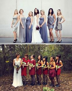 ....Just look at the top picture...mismatching bridesmaids @nikki striefler Hart with some length differences