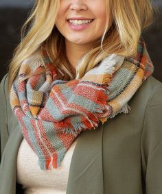 Take a look at this Autumn Mélange Stripe Blanket Infinity Scarf today!