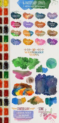 水彩絵の具でペイントしているような質感を表現できる無料Photoshopデザインキット「Aquarelle Designer Kit」