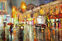 Rainy night Palette Knife Oil Painting on Canvas by by spirosart