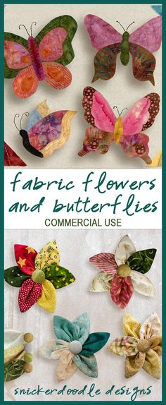 Four quilted butterflies and handmade flowers in vibrant colors, intricate details, and beautiful textures. These elements will provide richness to any digital scrapbook page. Snickerdoodle Designs