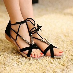 093603039c846 Buy Upgrade qualit flat heel sandals shoes beaded lacing gladiator small  wedges colosr casual shoes (Black) at Wish - Shopping Made Fun