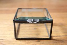 Recycled Glass Box with Smoky Crystal Handle