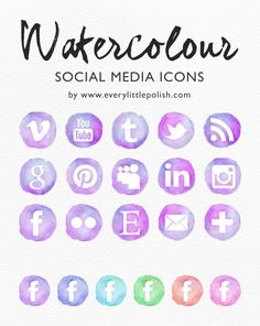 Free Watercolour Social Media Icons from the lovely Rose at everylittlepolish.  Guide for how to put them into blogger/wordpress sidebar can be found here http://www.everylittlepolish.com/how-to-add-custom-social-media-icons-to-your-blog-sidebar/