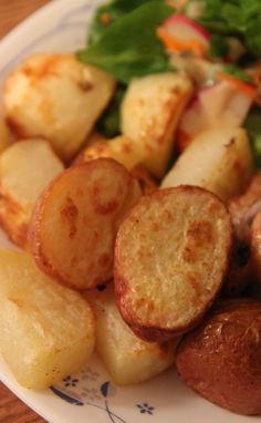 Broiled Salt & Vinegar Potatoes. Boil in vinegar first, then broil w/oil/salt/pepper to crisp up.