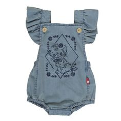 Kitty Ruffle Romper - Rock Your Baby Denim Romper, Ruffle Romper, Baby Girl Fashion, Kids Fashion, Rock You Baby, Designer Kids Clothes, Baby Store, Kid Styles, Urban Fashion