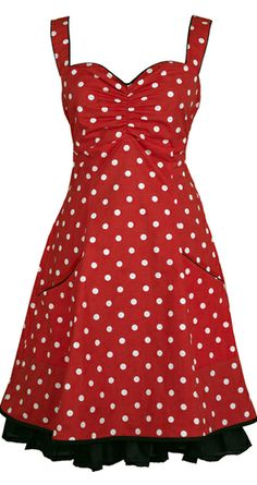 Norah - Red. DRESS IN ORGANIC COTTON. The dress is named after the great singer Norah Jones. It is inspired by 50s pinup and Mad Men style, this knee-length dress is made from 100% organic cotton [GOTS-certified] with polka-dots. The elasticated panel at the back and side zipper provide flexibility. The dress has pockets and it is lined with a very comfortable bamboo-silk.