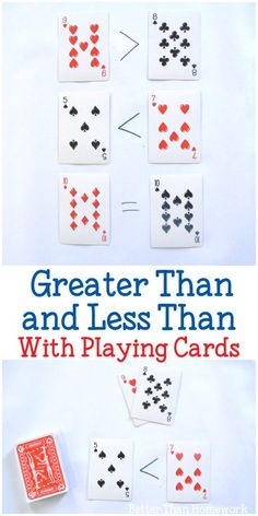 Grab a set off playing cards to practice math with these fun and simple activities to help your child understand greater than and less than. #math #education #BetterThanHomework