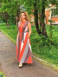 57887489af4f07 Items op Etsy die op Plus Size jurk vrouwen lange jurk vrouwen Maxi jurk  Boho jurk Plus Size kleding jurk oranje jurk strepen een lijn jurk lange  jurk ...