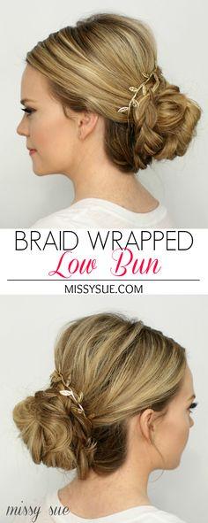 Braid Wrapped Low Bun