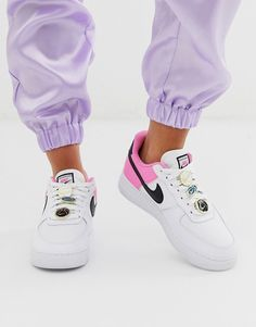 Nike White Pink And Black Basketball Badge Air Force 1 '07 Trainers