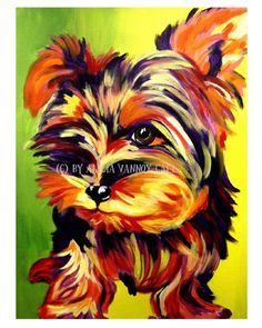 Colorful Pet Portrait Yorkie Yorkshire Terrier Dog by dawgpainter, $12.00