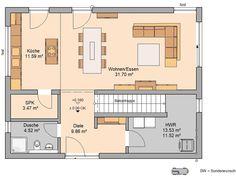 Bauhaus etos von kern-haus offene küche als mittelpunkt Bauhaus, House Plans, Floor Plans, How To Plan, Architecture, Projects, Comme, Centre, Houses