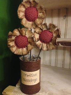 Primitive Flower Arrangement - Red on Etsy, $18.00