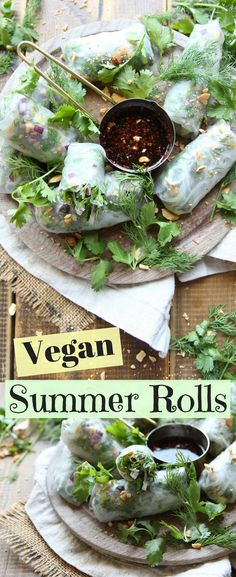 Vegan Summer Rolls. Served with a sweet and sour tamarind dipping sauce, these vegan gluten free summer rolls are packed with goodness, peanuts and perfect for for any occasion. #plantbased #veganfood #vegetarianrecipes #appetizer