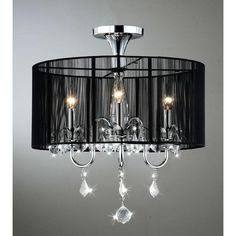 Black and Chrome Semi Flush Mount Crystal Chandelier ($130) ❤ liked on Polyvore featuring home, lighting, ceiling lights, black, black light, semi flush ceiling lights, semi flush mount ceiling lights, crystal chandelier lighting and black shade chandelier