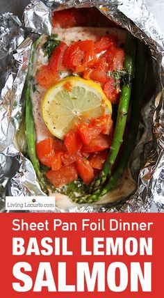 A fast sheet pan lemon basil baked salmon recipe with tomatoes and asparagus. With only 10 minutes of prep time, this healthy meal is sure to please any salmon lover. Good recipe for a sheet pan meal or no mess grilling. Baked Salmon Recipes, Seafood Recipes, Seafood Dishes, Fish Recipes, Recipies, Low Carb Dinner Recipes, Healthy Recipes, Diabetic Recipes, Healthy Meals