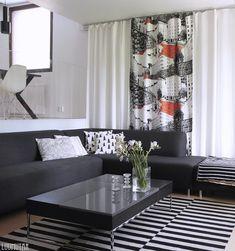 Luumutar: Verhot vaihtuu silmissä Scandinavian Home, Nordic Design, Marimekko, White Decor, First Home, Home And Family, Living Room, House, Curtains Living
