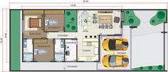 Planta térrea com ambientes integrados. Planta para terreno 10x25