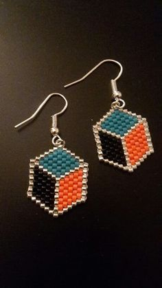 Boucles d'oreilles en forme d'hexagone DIY peyote