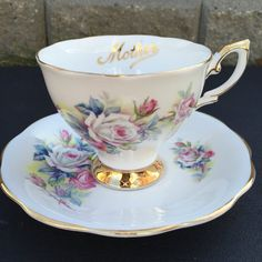 Royal Standard Rose Bouquet Vintage Teacup and Saucer by CupandOwl