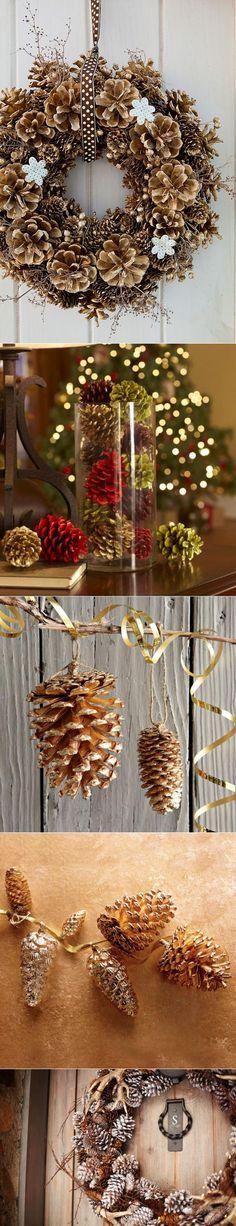 Новогодний декор из шишек   Фотографии красивых интерьеров