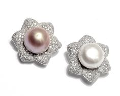 S925 Sterling Silver Flower Pearl Pendants with Cubic Zirconia  from charmself.com