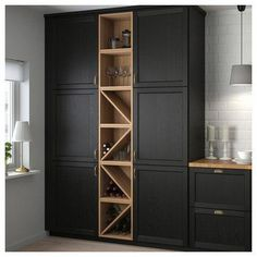 VADHOLMA Range-bouteilles, brun, frêne teinté - IKEA - Expolore the best and the special ideas about Modern kitchen design Wine Shelves, Wine Storage, Tall Cabinet Storage, Towel Storage, Open Kitchen Cabinets, Kitchen Drawers, Kitchen Walls, Wine Cabinets, Granite Kitchen