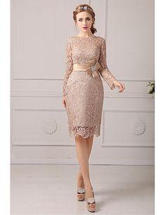 Mother of the Bride Dress Knee-length Lace Sheath/Column Dress – USD $ 139.99
