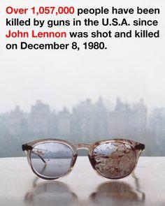 Yoko Ono tuiteó una foto de los lentes ensangrentados de John Lennon como parte de una campaña contra las armas en los EEUU