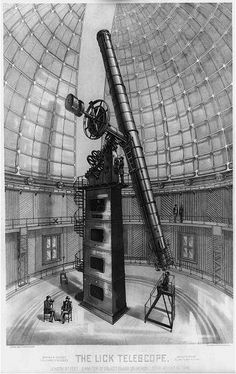 Drawing of 36-inchrefracting telescopeatLick Observatory. Objective lens made byAlvan Clark & Sons; mount byWarner & Swasey Company